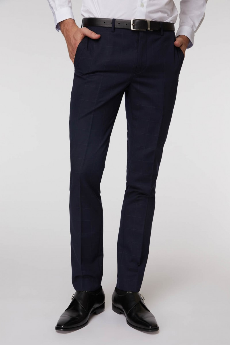 Navy Windowpane Suit Pant