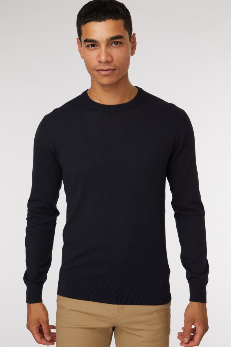 Dark Navy Crew Neck Knit