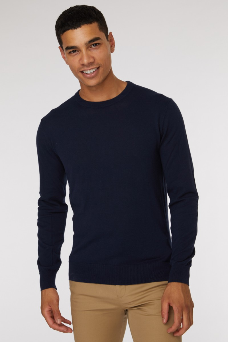 Blue Crew Neck Knit