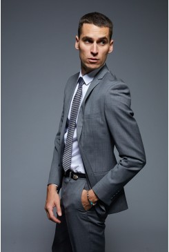 Dark Sharkskin Suit Jacket