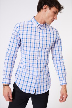 Blue Windowpane Mod LS Shirt