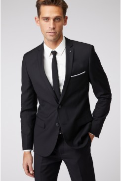 Black Stretch Mod Suit Jacket