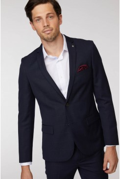 Navy Windowpane Suit Jacket