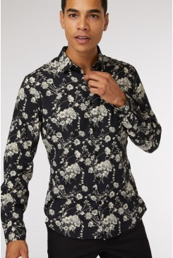 Cam Black Floral Shirt